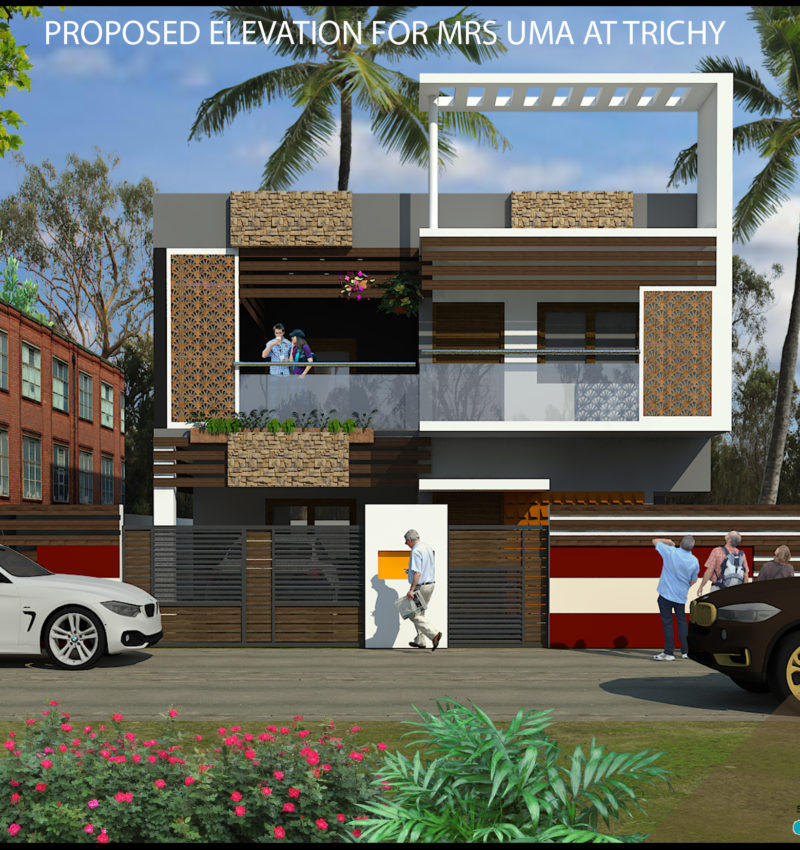 Elevation design for Residence in Trichy