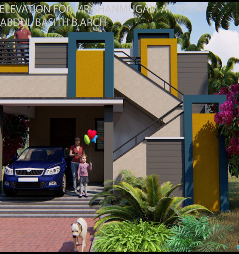 Elevation Design for Residence in Karaikudi