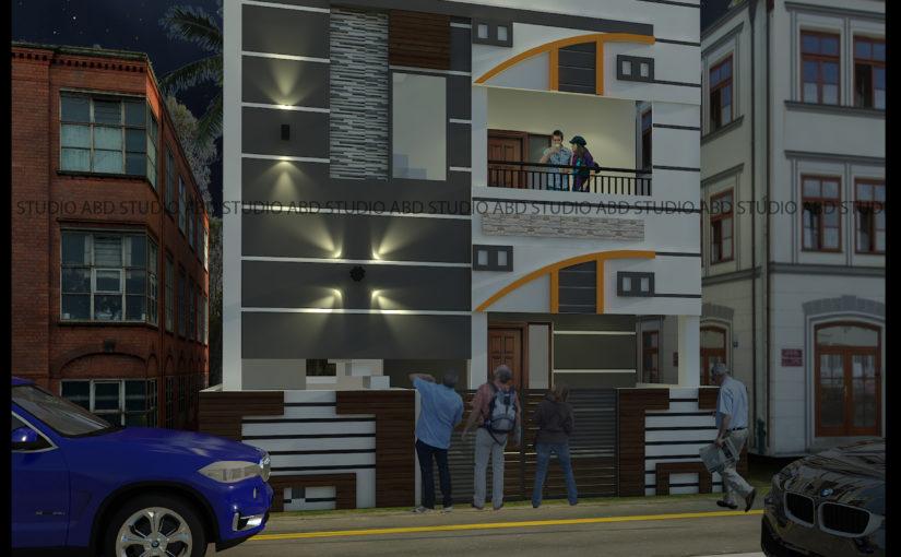 Villas elevation design in Trichy