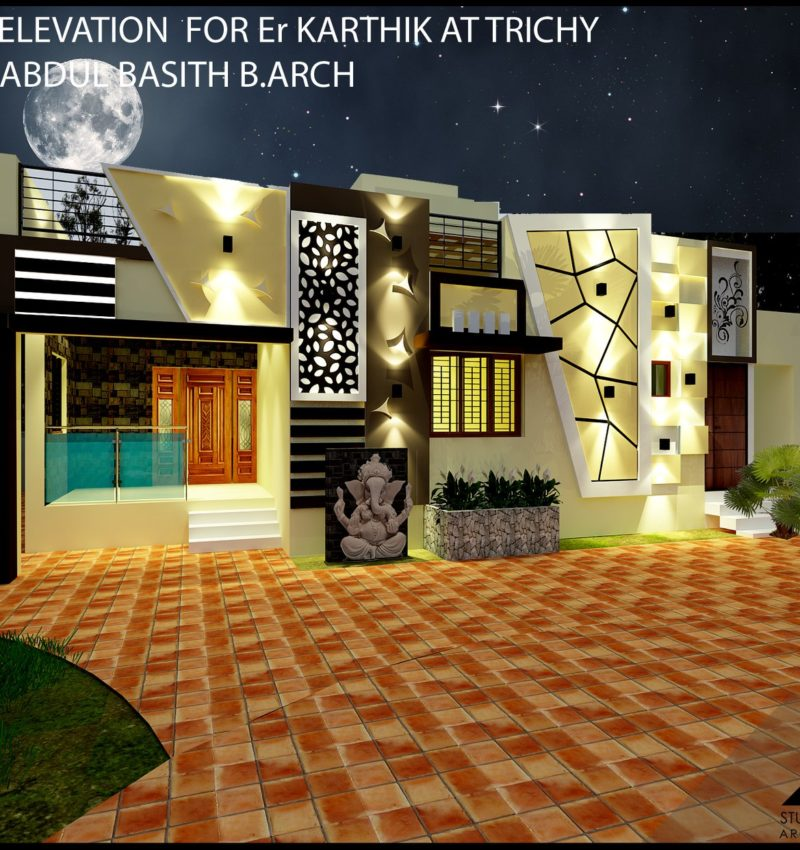 villa Elevation Design at Trichy