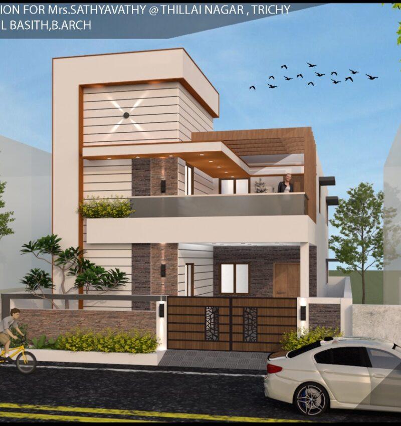 Villa Elevation in Thillai Nagar, Trichy